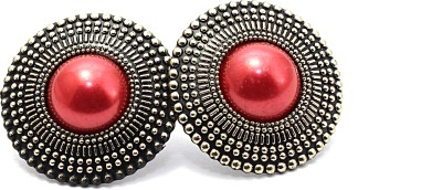 Zidox Red Coloured Bead Silver Alloy Stud Earring