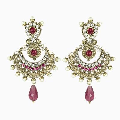 Artisan Purple Stone & Pearl Earrings Metal Chandbali Earring
