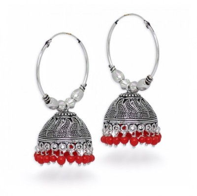 Jewelskaro Designer Antique jhumkas designs Fashion jewelry Beads German Silver Jhumki Earring