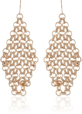 Thingalicious Rhombus Woven Wiremesh Alloy Chandelier Earring