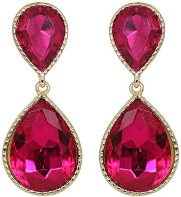 Amroha Crafts Pink Duallet Alloy, Crystal Drop Earring