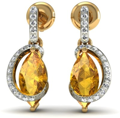R S Jewels Creative Designs Yellow Gold 18kt Diamond, Citrine Drop Earring