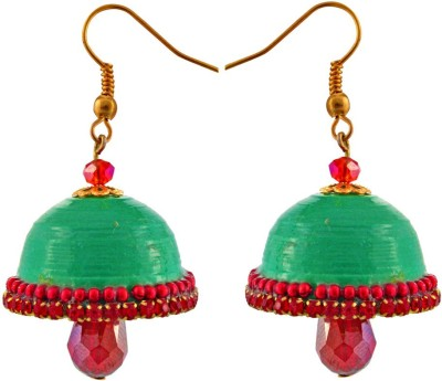 Jaipur Raga Hancrafted Green Hook Jhumka Brass Jhumki Earring