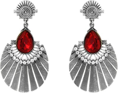 Donna Red Drop Round Crystal Metal Drop Earring