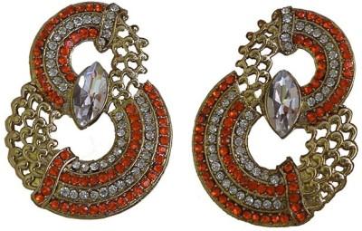 Mrinalini Orange and Golden Alloy Drop Earring