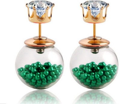 Lady Rainbow Green Tiny Beads Inside Glass Double Sided Zircon Stud Cubic Zirconia Alloy Plug Earring