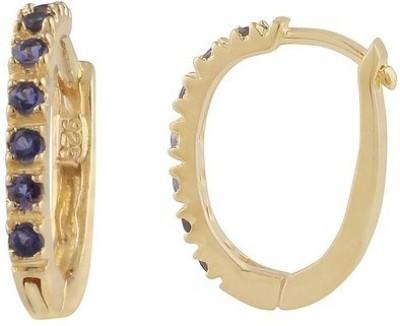 VelvetCase Silver Huggies Iolite Gemstone Earrings Iolite Silver Hoop Earring