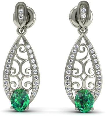 R S Jewels Creative Designs White Gold 18kt Diamond, Emerald Drop Earring