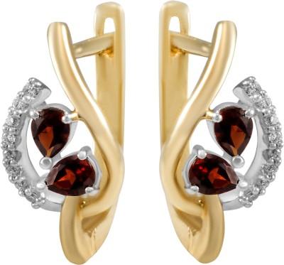 Gold24.in All Time Diamond, Garnet White Gold Hoop Earring