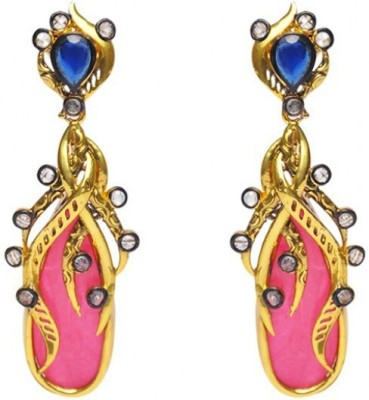 Jillcart Gold Plated Stylish Earring with Pink and Blue Stone Ruby Copper Dangle Earring