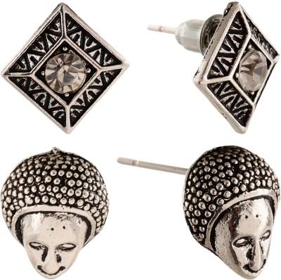 Anokhi Ada Human Face and Rhombii Metal Stud Earring