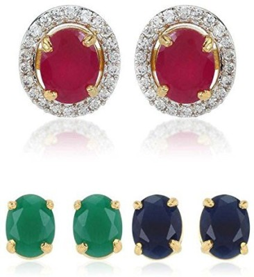 Bandish Multicolour Interchangeable 3 in 1 Stone studded Cubic Zirconia Alloy Stud Earring