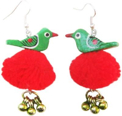 Juhi Malhotra Green And Red Bird Wood Drop Earring