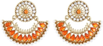 Aanya Creations Orange Grace Alloy Chandbali Earring
