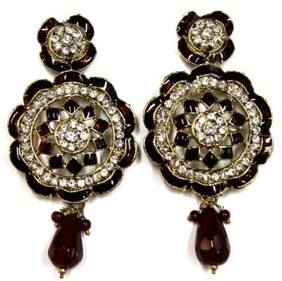 Fusion Jewels ER-348 Maroon Metal Drop Earring