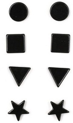 Kauberi Jewels 4 Pair Geometric Black Unisex Metal Magnetic Earring