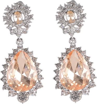 Shining Jewel Peach Bling Cubic Zirconia Brass Drop Earring