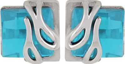 Gracent Rectangular Shaped Designer Sky Blue Metal Stud Earring