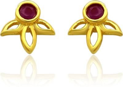 Mahi Red Floral Petal Ruby Alloy, Brass Stud Earring