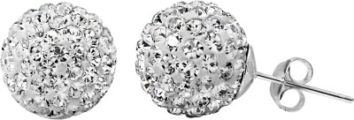 Om Jewells White Round Cubic Zirconia Sterling Silver Stud Earring