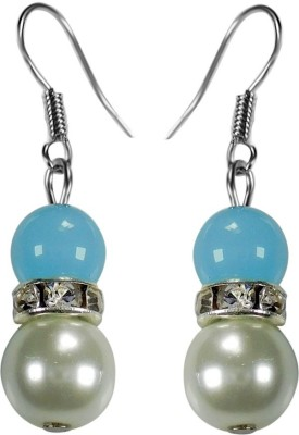 Crystals & Beads Turquoise Blue Colour Round Moonball & White Pearl Bead with Diamond Spacer Acrylic, Glass, Crystal Dangle Earring
