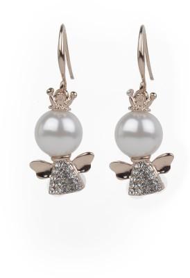 Jewelfin White Pearl Alloy Drop Earring