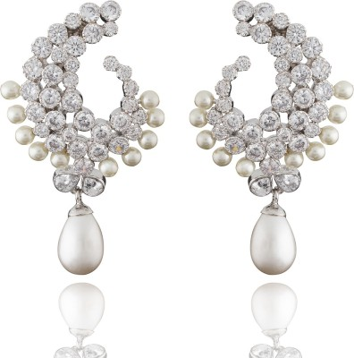 Chaahat Fashion Jewellery Beautiful Pearl With Cz Stone Cubic Zirconia Copper Drop Earring