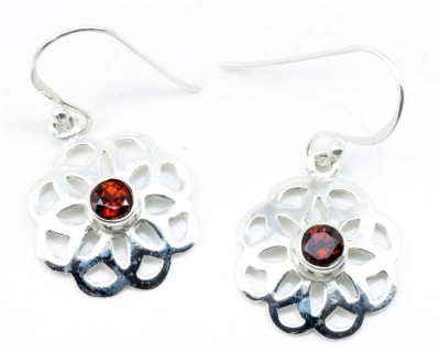 YugshaJewels Sparkling Garnet Sterling Silver Dangle Earring