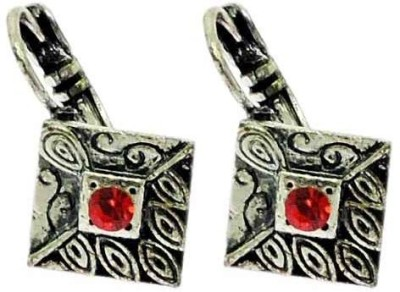 Sanaa Creations Elegant Oxidized exterior Crafted with Red stone Alloy Hoop Earring