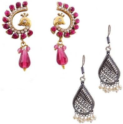 MK Jewellers Victoria Pink AD stone & Oxidized German silver Earring Combo Brass, Copper Earring Set