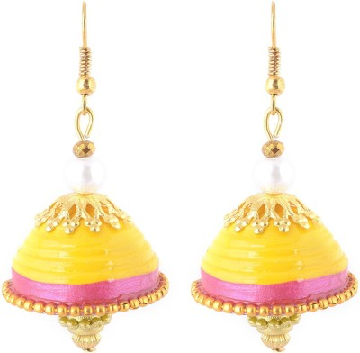 Jyotis Creations Yellow And Pink Paper Dangle Earring