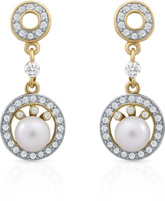 Oviya Exclusive Fashion Crystal, Pearl Alloy, Brass Dangle Earring
