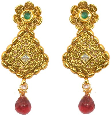 Pourni Designer Color Stone Metal Drop Earring