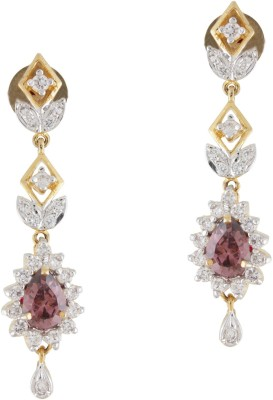 Styleos Clear Brown Ethnic Cubic Zirconia Alloy Drop Earring