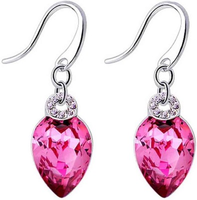 Yellow Chimes Pink Drops Swarovski Crystal Alloy Dangle Earring