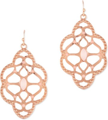 Oomph Gold & White Crystal Filigree Fashion Jewellery for Women, Girls & Ladies Metal Dangle Earring