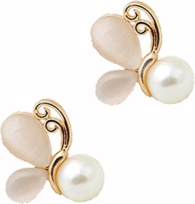 Cilver Fashion Trendy Opal And Pearl Butterfly Studs Alloy Stud Earring