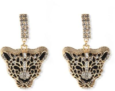 Aimez Studded Leopard Face Metal Drop Earring