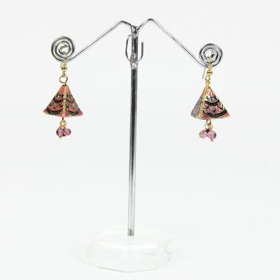 Artisan Pink Triangle Enamel Metal Jhumki Earring