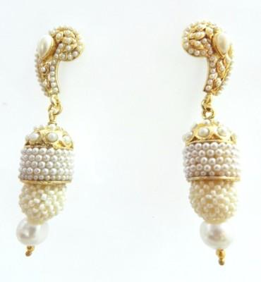 Radhesh Creation Crystal Brass Jhumki Earring