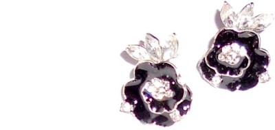 Sgsproducts Black Stone Flower Metal Stud Earring
