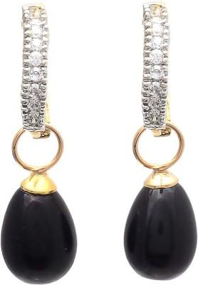 My Sara Black Drop Cubic Zirconia Brass Drop Earring