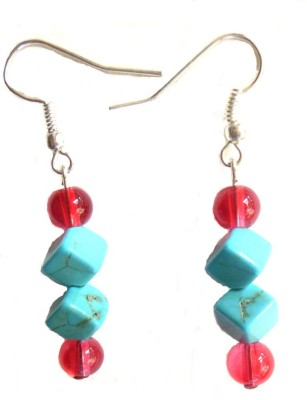 Bohocraft Bohemian Square Turquoise, Pearls Wood Dangle Earring