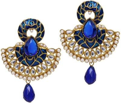 Jaipur Mart New Designer Blue Kundan Polki Alloy Chandelier Earring