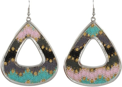 Gracent Rounded Triangle Green, Pink, Grey Metal Dangle Earring