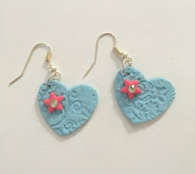 Craffiti Heart and Star Clay Ceramic Drop Earring