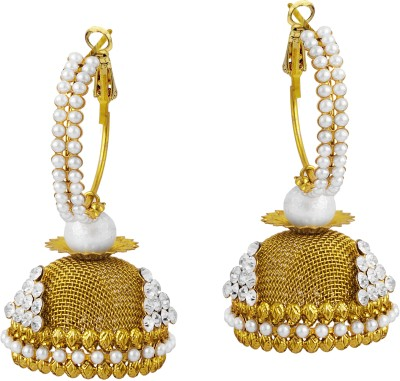 TAKSPIN Drop Hoop Adorned With Pearl Beads Pearl Alloy Jhumki Earring