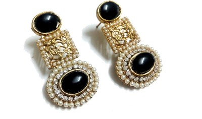 Glittering World Designer Black Stone and Pearl Alloy, Stone Drop Earring