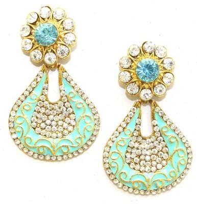 Aarnaa Cyan Enamel Alloy Drop Earring