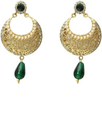 99HomeMart Charm Chandwali Pearl Metal Chandbali Earring